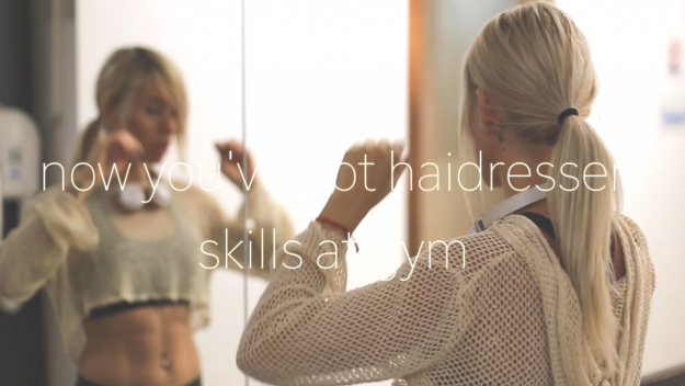 HAIRDRESSER SKILLS @ GYM WITH BABYLISS BELISS ROTATING BRUSH- VIDEO